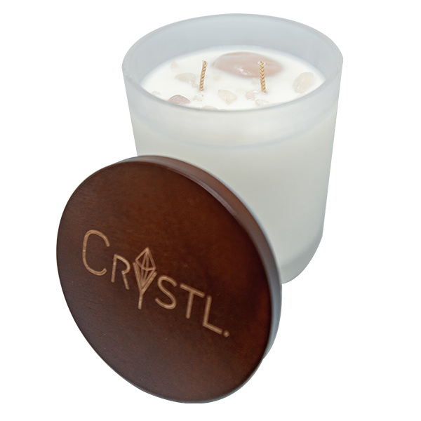 LOVE & POSITIVITY  ~ Crystal Infused scented soy candle 65 hr burn
