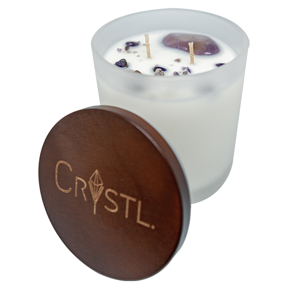 PEACE ~ Crystal Infused scented soy candle 65 hr burn