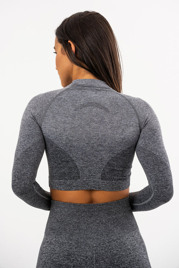 Seamless Long Sleeve Grey Crop Top