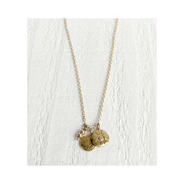 Sky Trio Brass Charm Necklace