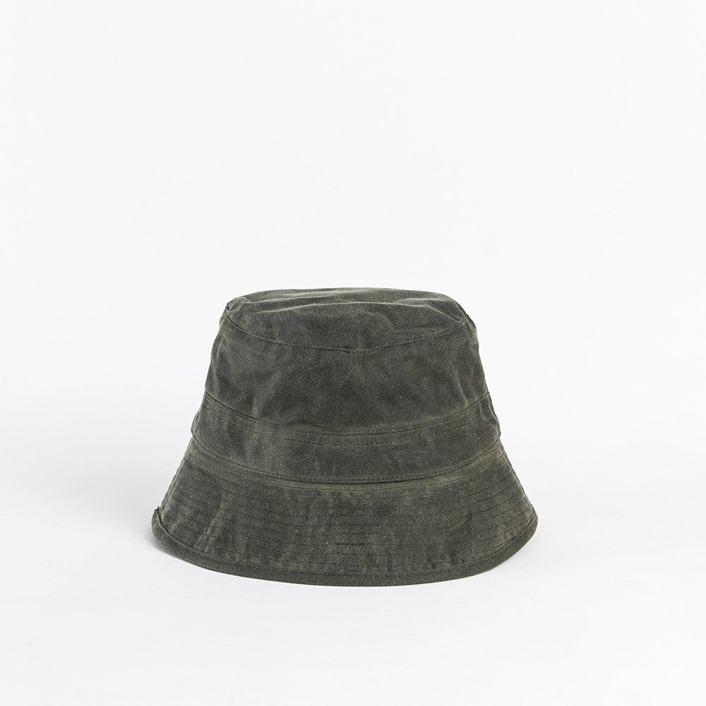 Olive Waxed Cotton Bucket Cap