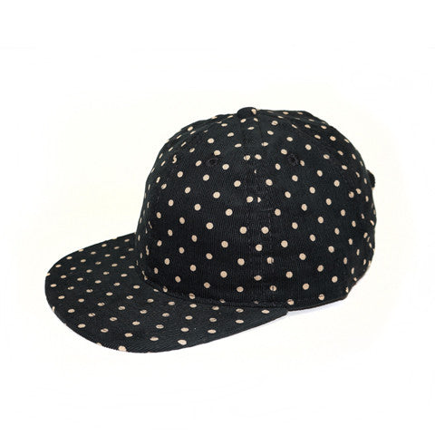Black Polka Corduroy Ball Cap