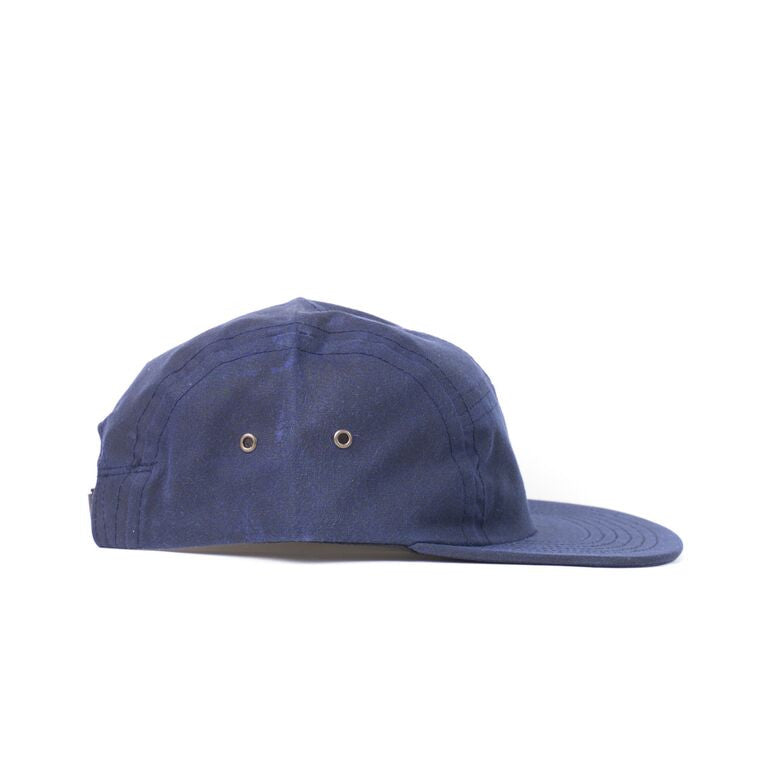 Navy Waxed Cotton Camp Cap