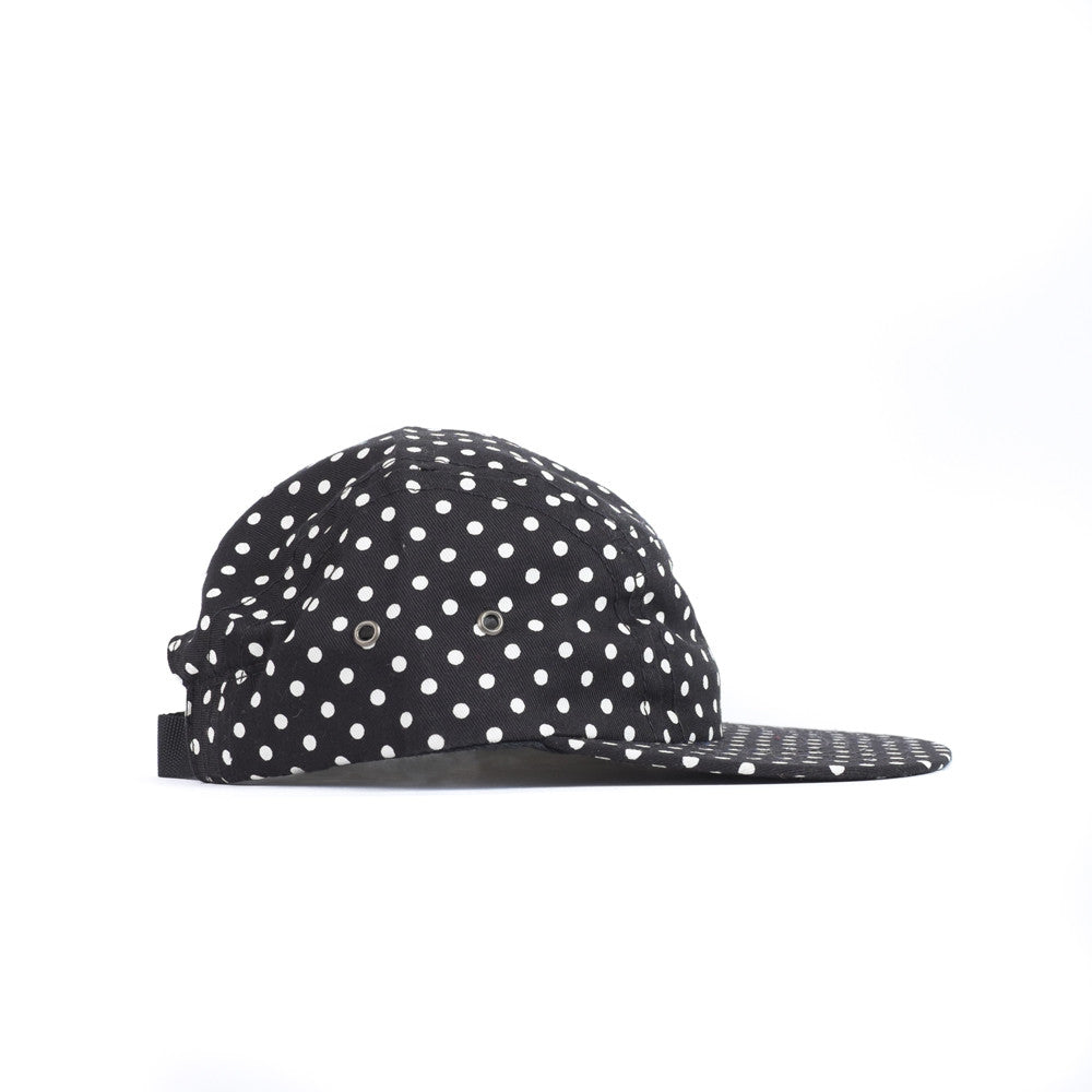 Black Polka Camp Cap Youth