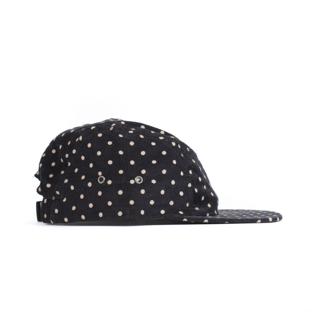 Black Polka Corduroy Camp Cap