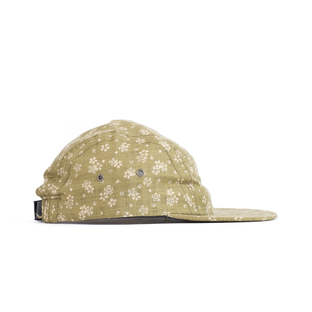 Green Linen Floral Camp Cap
