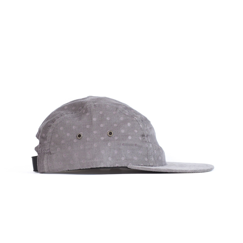 Grey Corduroy Polka Camp Cap