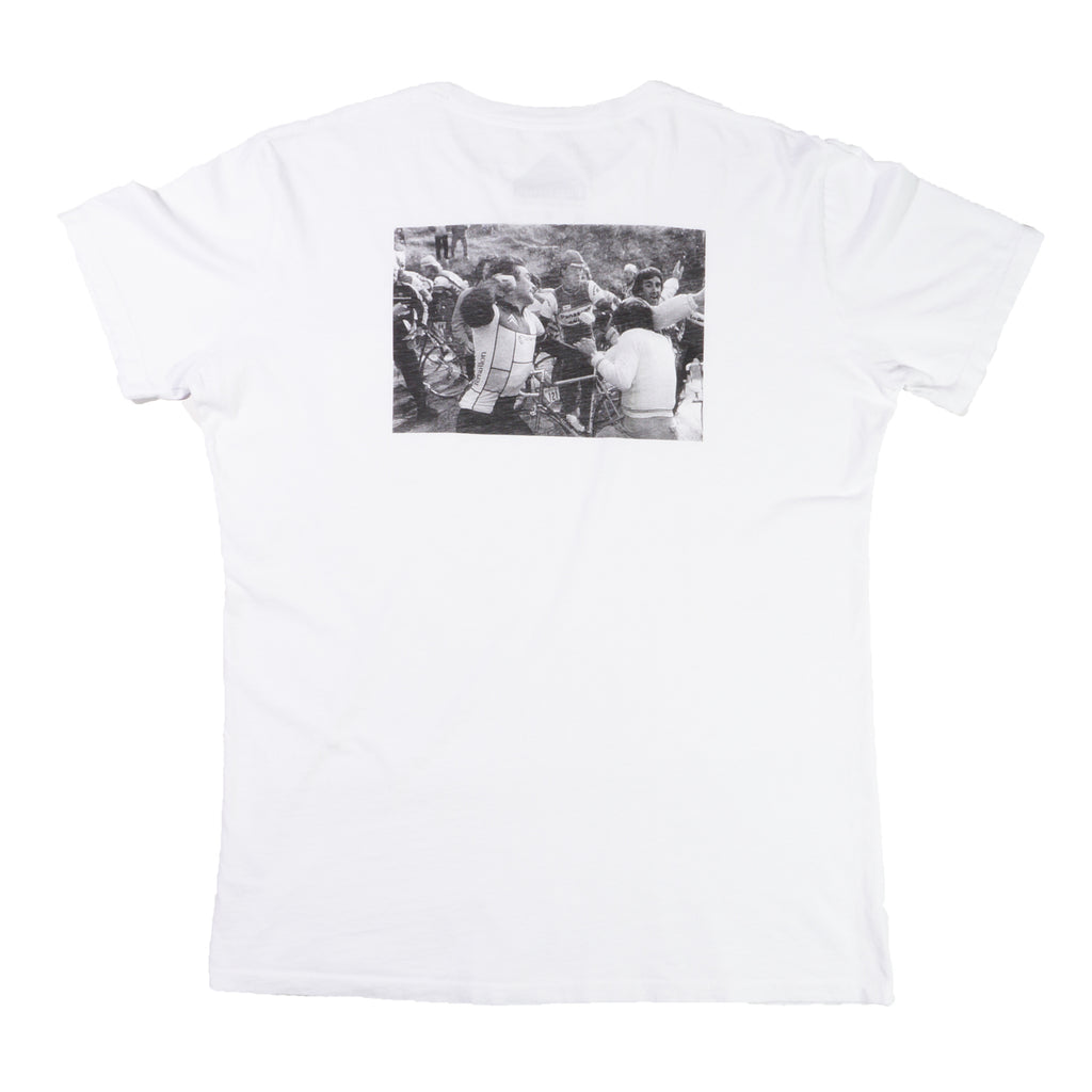 """The Badger"" White Organic Cotton Pocket T-Shirt"