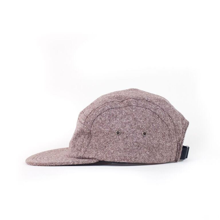 Brown Donegal Tweed Camp Cap