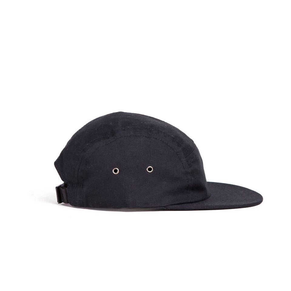 Black Cotton Twill Camp Cap