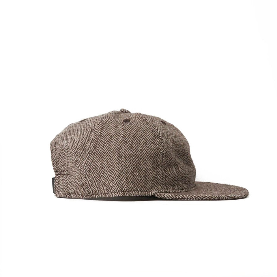 Brown Herringbone Tweed Ball Cap
