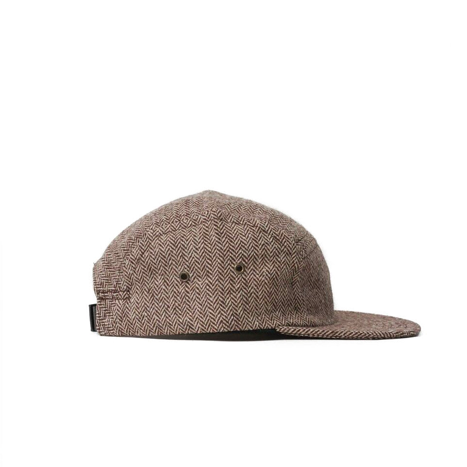 Brown Herringbone Tweed Camp Cap