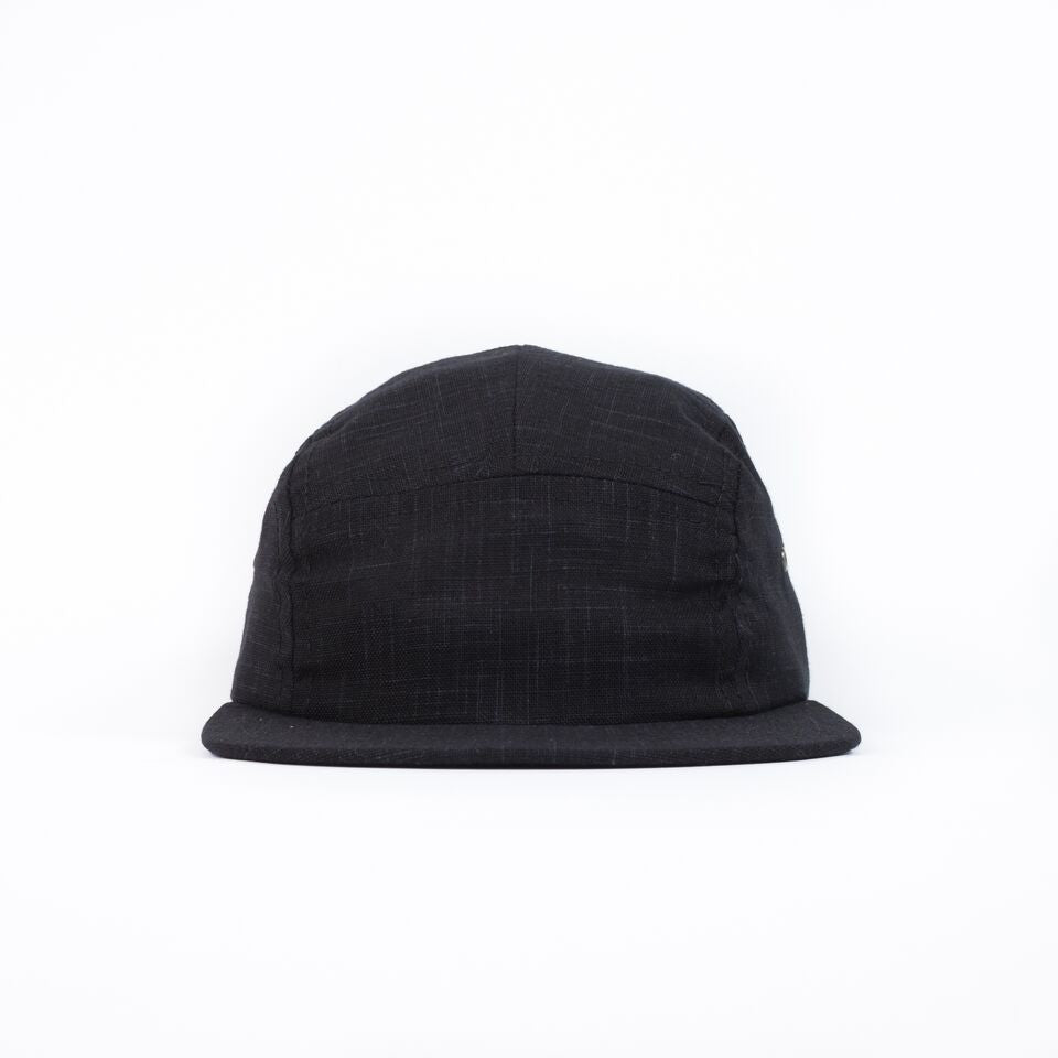 Black Linen Camp Cap