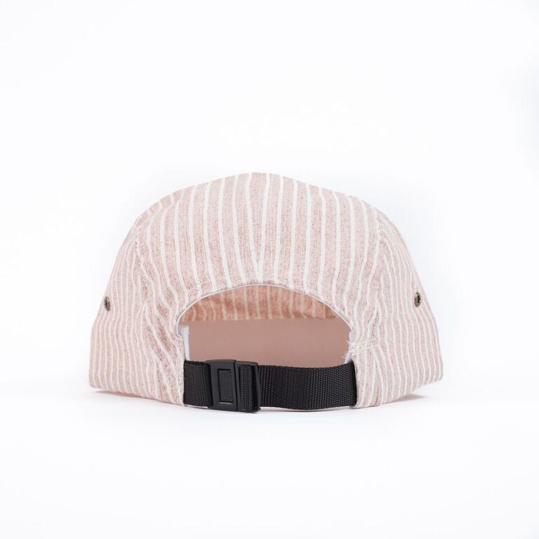 Red Hickory Stripe Camp Cap
