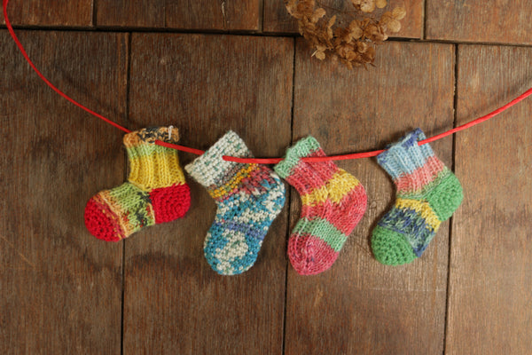 knit ornament kit with mini stocking & mini charm