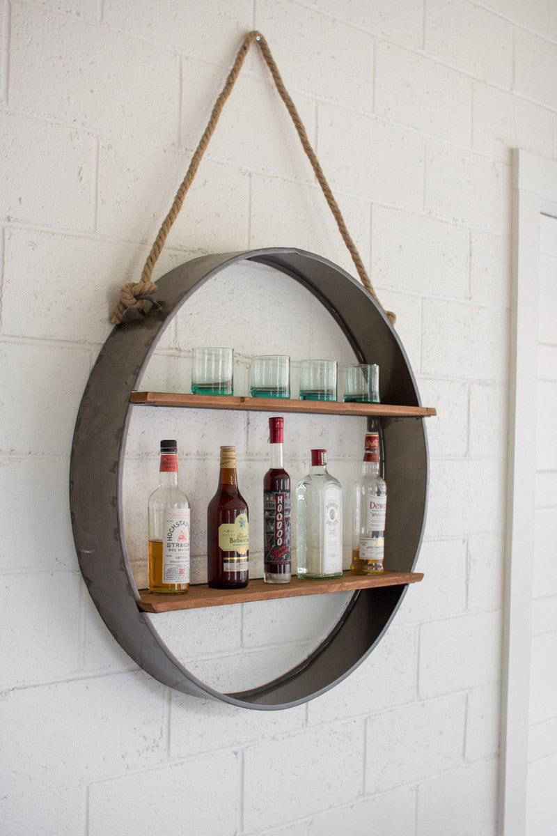 Circle Iron And Wood Hanging Wall Shelf The Nifty Decor