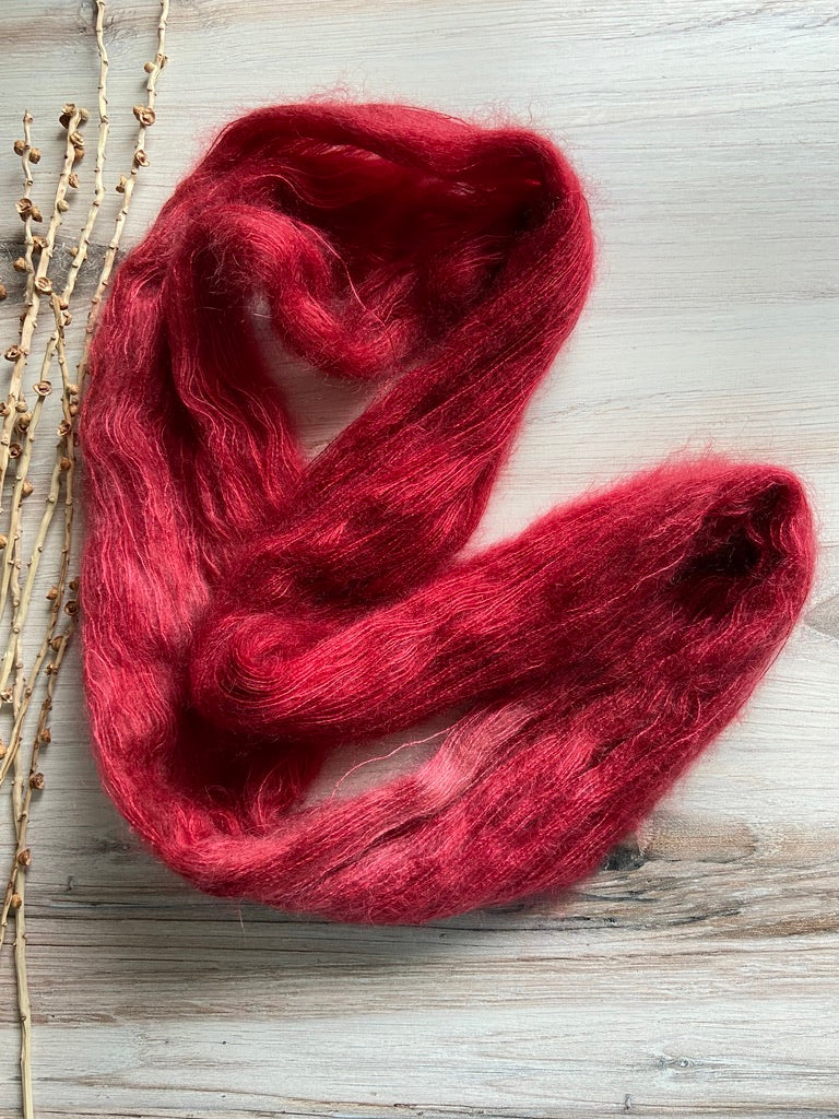 Red Kid Mohair Silk Hand Dyed Yarn