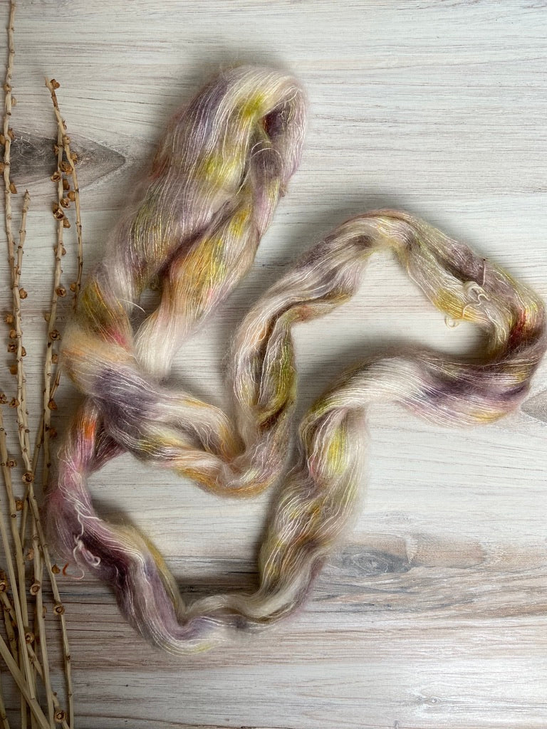 Cream Gold Purple Mohair Silk Hand Dyed Yarn