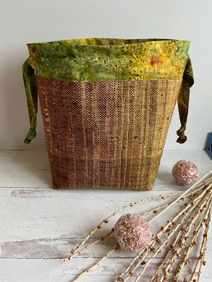 Gold Wine Striped Handwoven Drawstring Project Bag