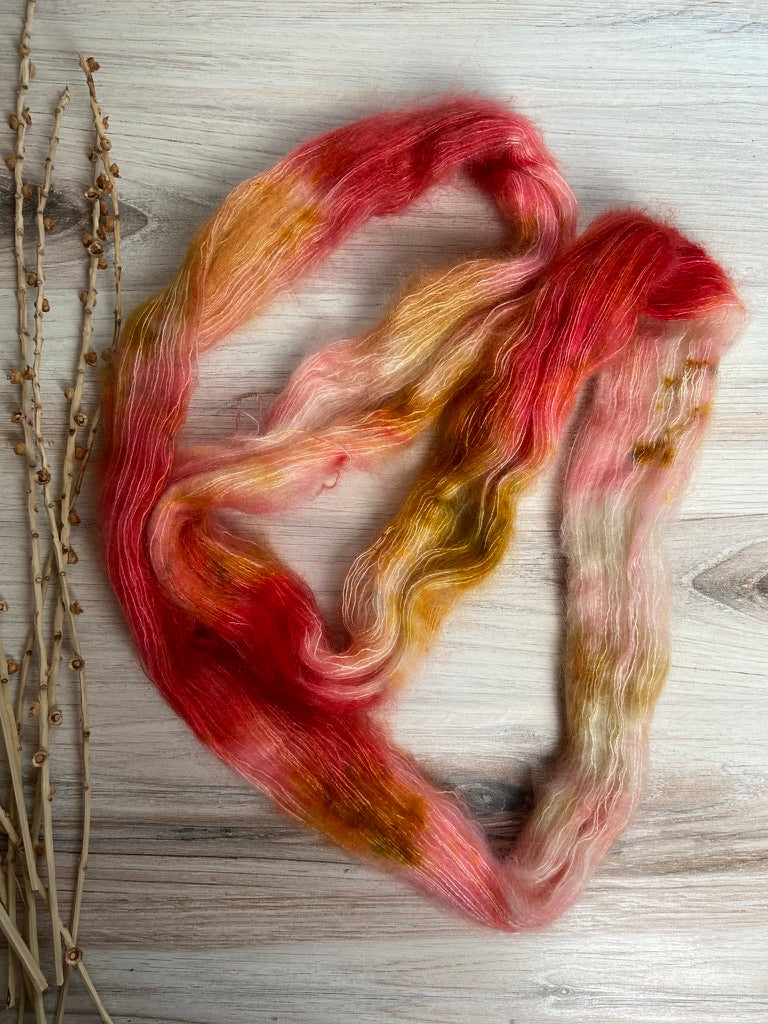 Red gold Pink Mohair Silk Yarn