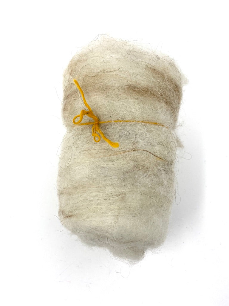 Brown And White Icelandic Wool Batt