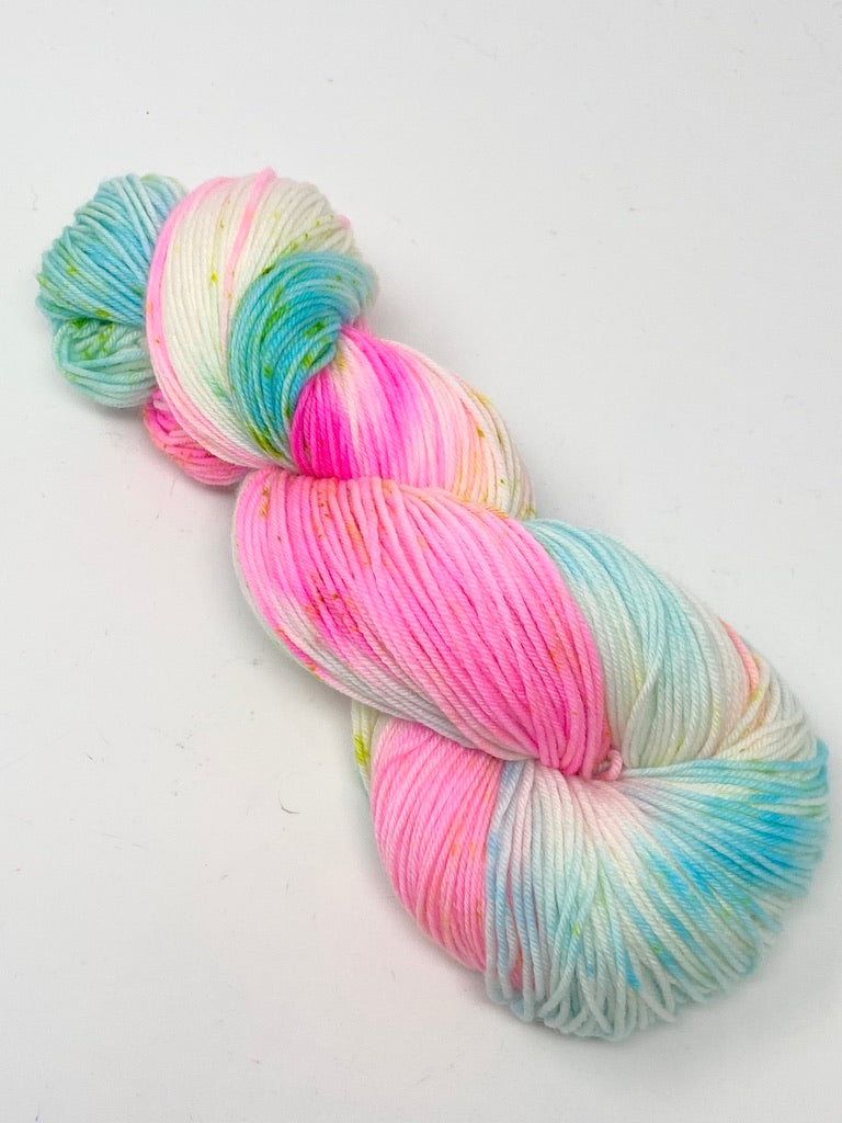 Turquoise Hot Pink Speckled SW Merino Nylon Yarn