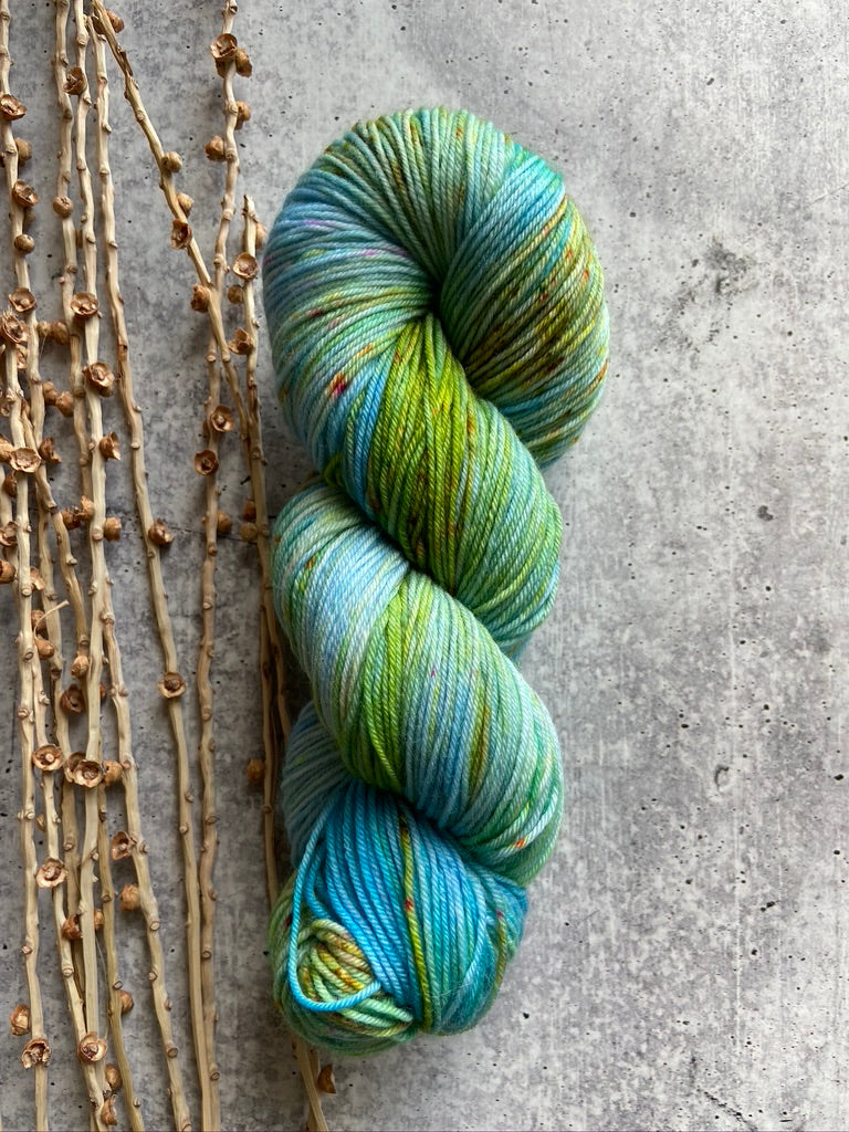 Turquoise Green Speckled SW Merino Nylon Yarn