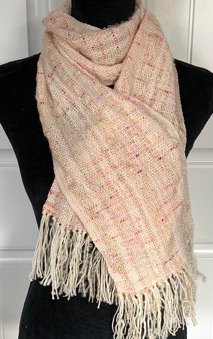 Light Pink Scarf With Flecks Of Pink & Rust