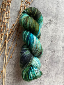 Green Teal Speckled SW Merino Nylon Yarn