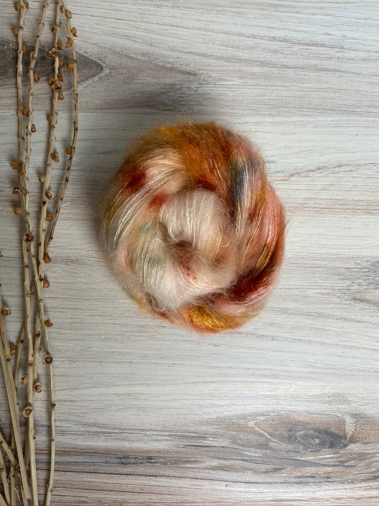 White Rust Pink Kid Mohair Silk Hand Dyed Yarn