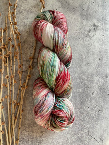 Red Green Speckled SW Merino Nylon Yarn