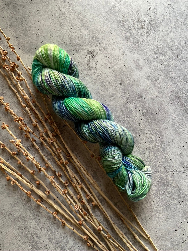 Greens & Navy Blue Speckled Yarn