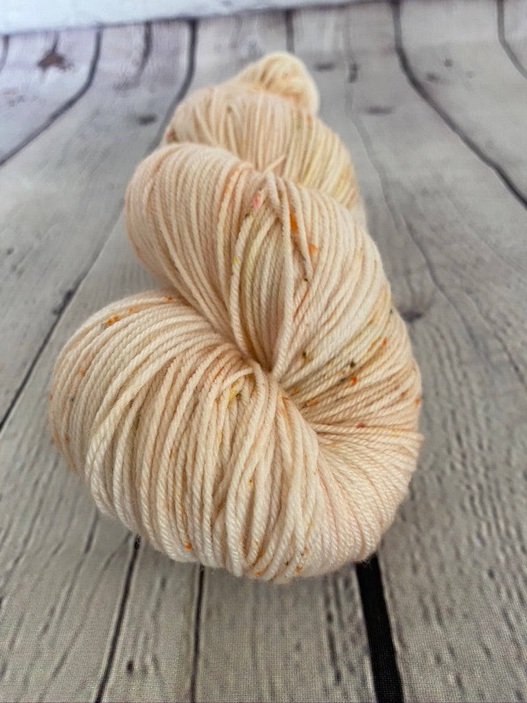 Peach Speckled SW Merino Nylon Yarn