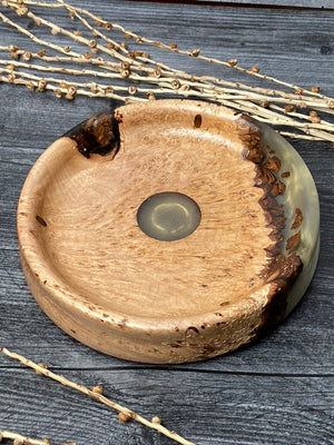 Figured Maple Bowl With Gold Resin