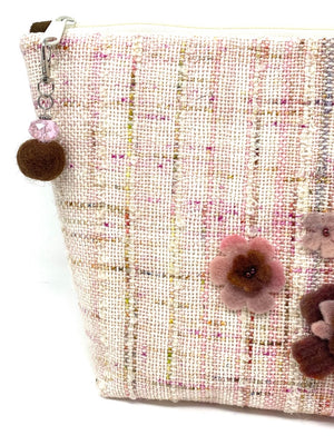 Pink Brown Speckled Project Bag with Felt Flowers