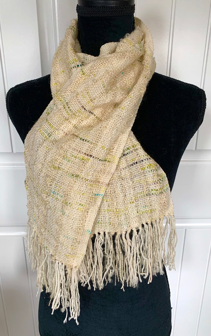 Off White Scarf With Flecks Of Green