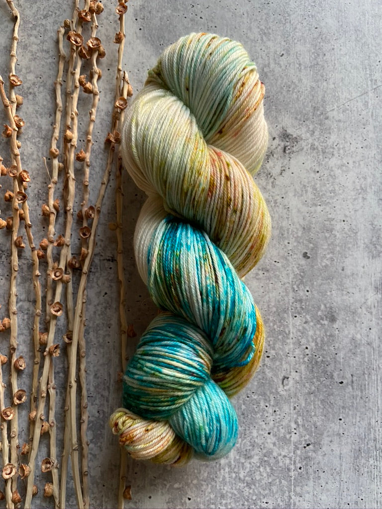 Teal Gold Rust Speckled Yarn