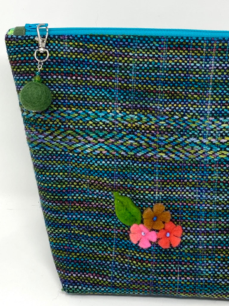 Green Blue Project Bag With Felted Flower
