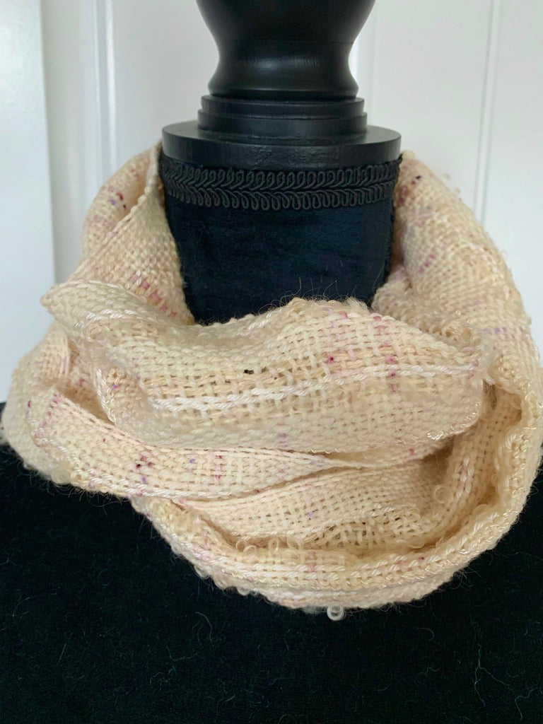 Off White Scarf With Flecks Of Plum