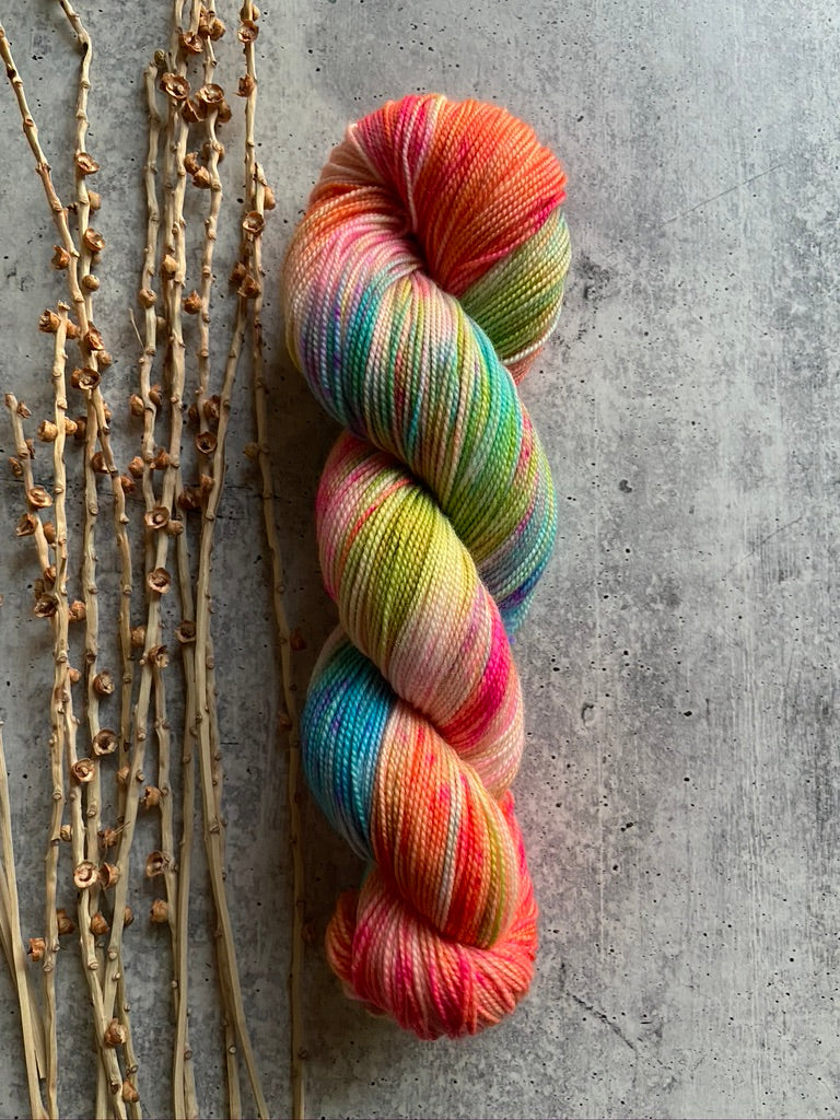 Turquoise Blue Green Orange Pink Speckled Yarn