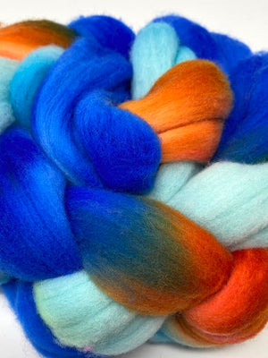 Blue Turquoise Orange US Targhee Wool Spinning Fiber