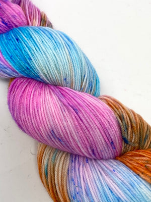 Pink Blue Orange Speckled SW Merino Nylon Fingering Yarn