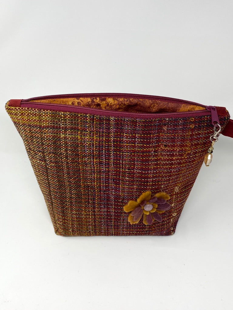 Gold Wine Zippered  Project Bag