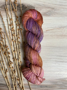 Gold Purple Rose SW Merino Silk Hand Dyed Yarn
