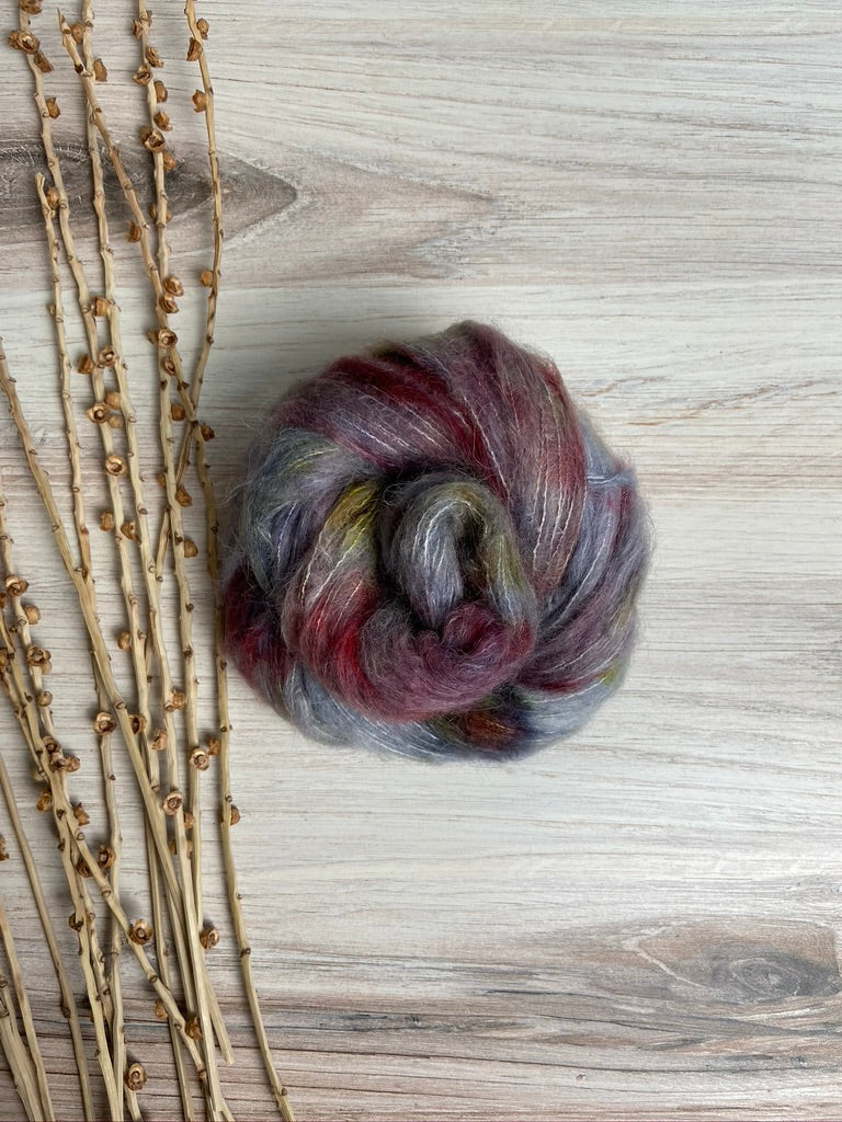 Gray Burgundy Plum Gold Suri Alpaca Silk Yarn