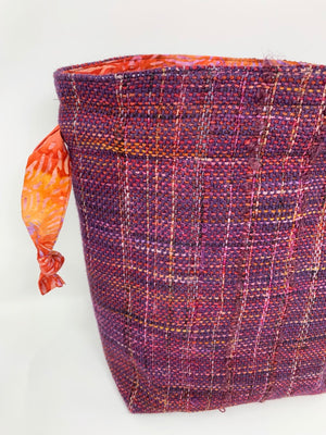 Purple Red Rust Drawstring Project Bag