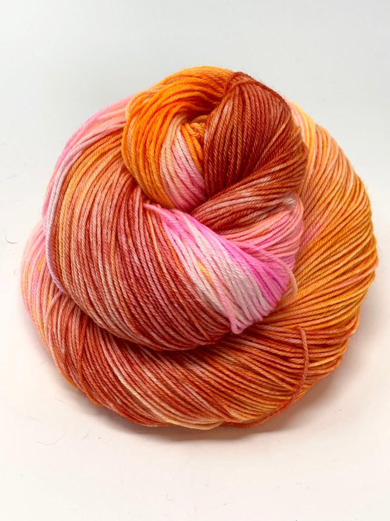 Orange Pink Fingering Weight Yarn