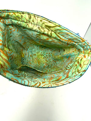 Green Teal Drawstring Project Bag With Flower Accents