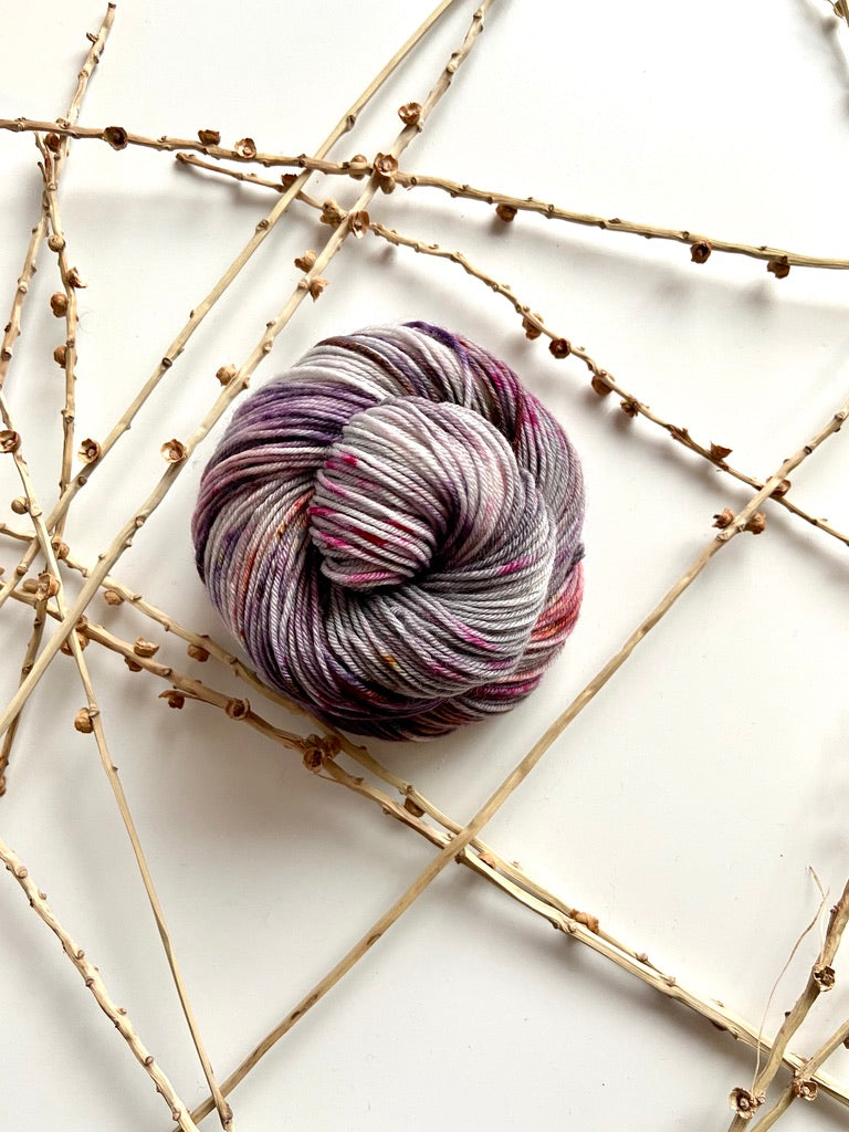 Gray Plum Magenta Speckled SW Merino Nylon Yarn