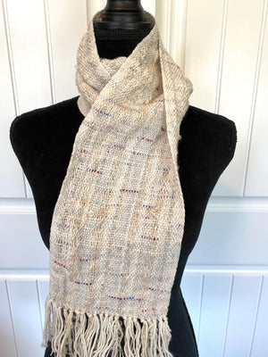Light Gray Scarf With Flecks Of Blue & Cranberry